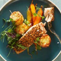 Salmon with a crispy quinoa crust and Aviko Mini Gratin with Jerusalem artichoke and parsnip